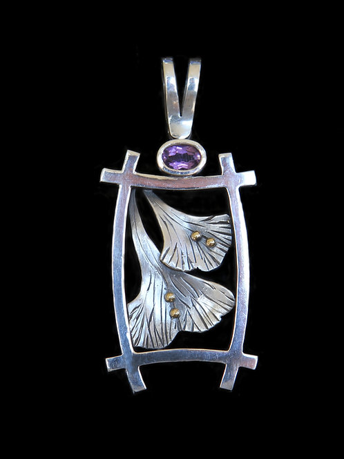 Sterling Silver And 14K Gold Ginko Leaf Pendant With .45CT Amethyst