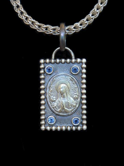 Catholic Christian Spiritual Dog Tag Sterling Silver Blue Sapphires