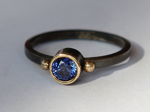 Hand Forged 1.10 Ct Blue Sapphire 18K Gold And Oxidized Sterling Sz 7.5