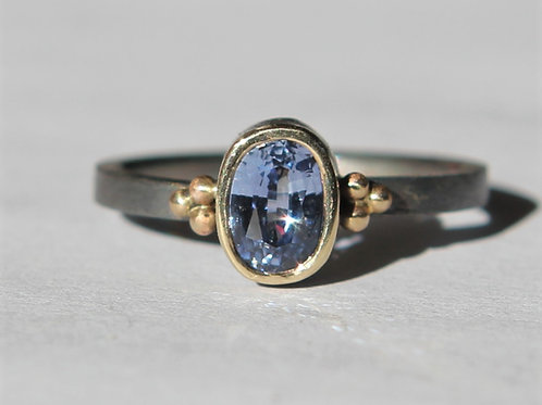 Natural .80ct Blue Sapphire Solitaire Ring Sz 6 Oxidized Sterling Silver And 14K
