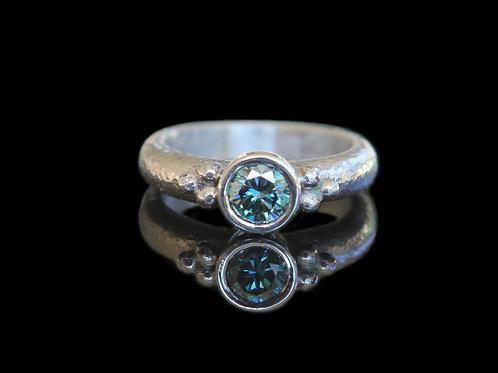 Unique Alternative Engagement Modern Ring ~ Genuine .85Ct Blue Moissanite