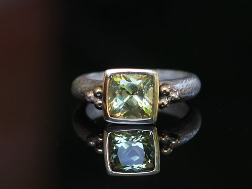14k And Sterling Silver 2.40 Ct Cushion Cut Yellow Sapphire Solitaire