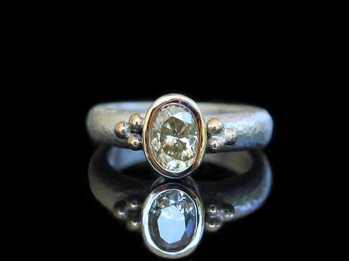 Hand Forged .84Ct Antique Cut Yellow  Moissanite 14K Gold & Sterling Silver