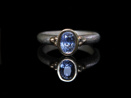 Natural 1.40ct Periwinkle Blue Sapphire Ring Sz 6.5 Sterling Silver 14k Gold