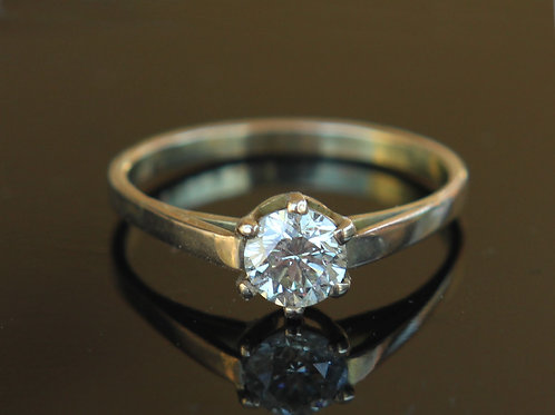 Certified .57 Ct Diamond 14K Gold Engagement Ring Sz 6.5