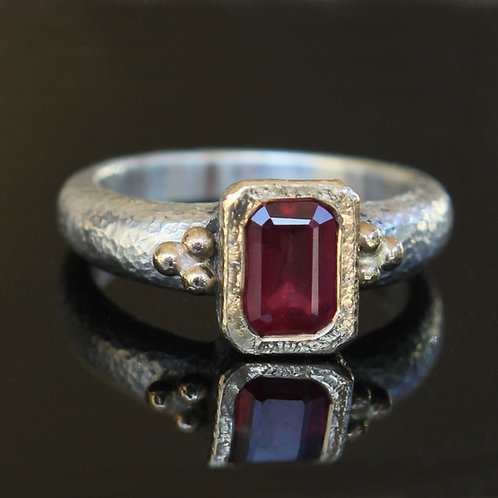 Natural 1.95ct Blood Red Ruby Solitaire Ring Sz 7 Sterling Silver 18k Gold