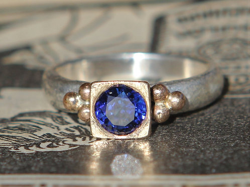 Hand Forged .90ct Blue Sapphire Sterling And 18K Gold Solitaire Ring