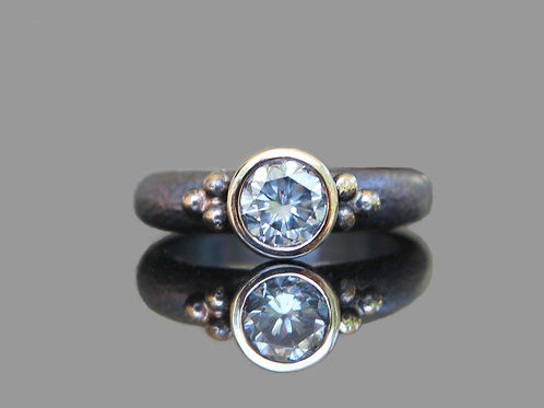 Hand Forged .80ct Antique Cut White Moissanite 14K Gold & Sterling Silver