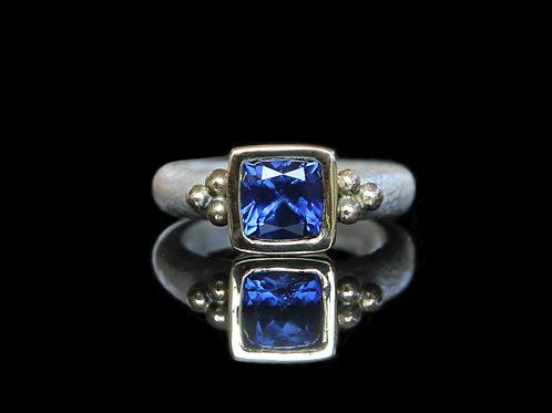Natural 2.35ct Dark Blue Sapphire Ring Sz 6.5 Sterling Silver 14k Gold