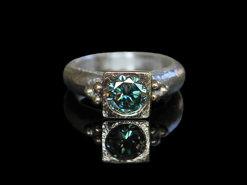 Hand Forged 1.40ct Blue Moissanite 14K Gold And Argentium Silver Size 6.5