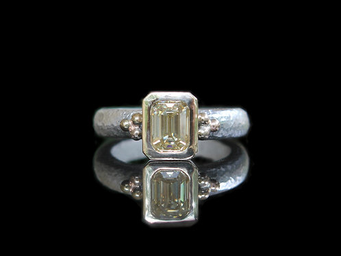 Hand Forged .98ct Emerald Cut Yellow Moissanite 14K Gold & Sterling Silver