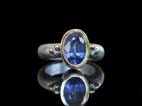 Natural 3.20ct Blue Sapphire Solitaire Ring Sz 6.5 Sterling Silver & 18k Gold