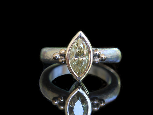 Hand Forged .90Ct Marquise Cut Yellow Moissanite 14K Gold & Sterling Silver