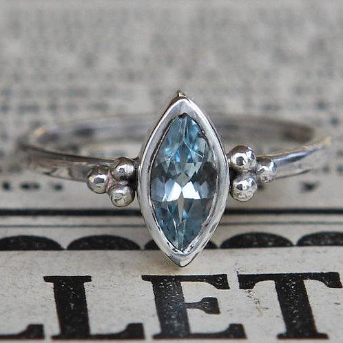 Hand Forged .75 Ct Marquise Cut Aquamarine Engagement Ring Sz 5.5