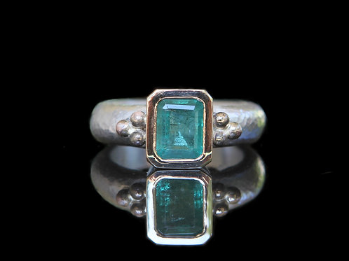 Hand Forged 2.20ct Dark Green Emerald 14K Gold And Sterling Silver Size 6.5