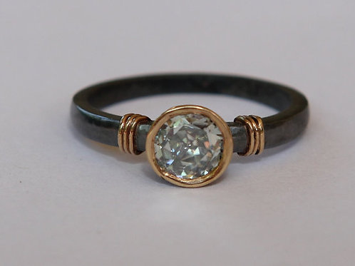 Rose Cut .74ct White Moissanite 18K And Oxidized Sterling Ring Sz 7