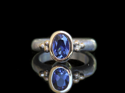Natural 1.65ct Blue Sapphire Solitaire Ring Sz 6.5 Sterling Silver 14k Gold