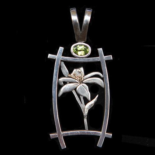 Sterling Silver And 14K Gold Lily Pendant With .45CT Peridot