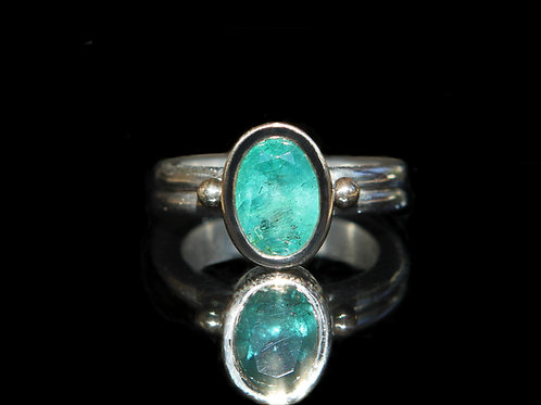 Hand Forged 2.85ct Medium Green Emerald 14K Gold And Sterling Silver Size 7