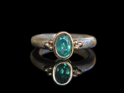 Unique Modern Alternative Engagement Ring ~ Certified 1.45ct Teal Sapphire