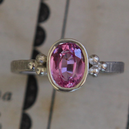 Hand Forged 1.65ct Pink Sapphire Ring SZ 6.5
