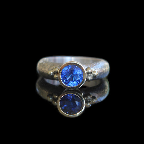 Natural 1.5ct Cornflower Blue Sapphire Ring Sz 6.5 Sterling Silver 14k Gold