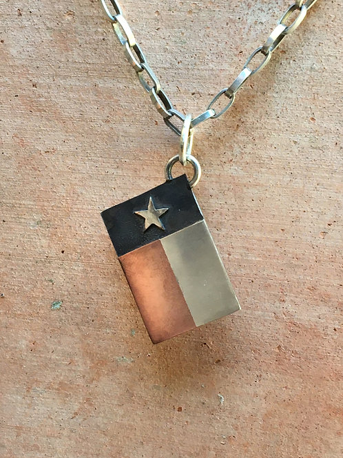Sterling Silver And Copper Texas Flag Dog Tag