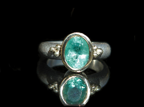Hand Forged 2.90ct Medium Green Emerald 14K Gold And Sterling Silver Size 6.5