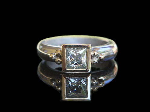 Hand Forged 1.0Ct Princess Cut Light Blue Moissanite 14K Gold & Sterling Silver