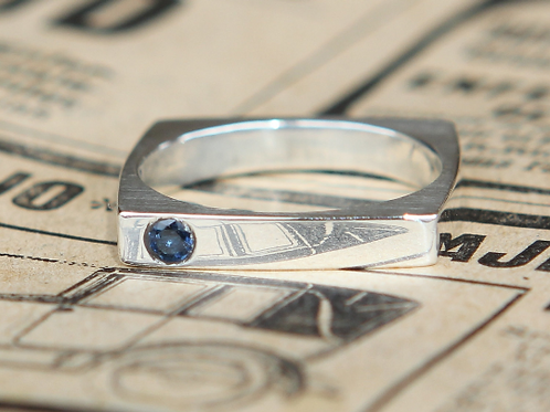 Modern Square Sterling Ring With Round Cut Sapphire
