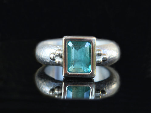 Hand Forged 1.30ct Dark Green Emerald 14K Gold And Sterling Silver Size 6.5