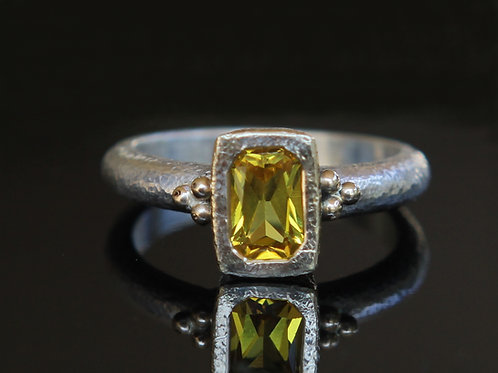 Natural Yellow Sapphire ~ Sterling Silver And 18K Gold Mixed Metal
