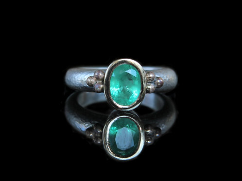 Hand Forged 1.32ct Medium Green Emerald 14K Gold And Sterling Silver Size 6.5