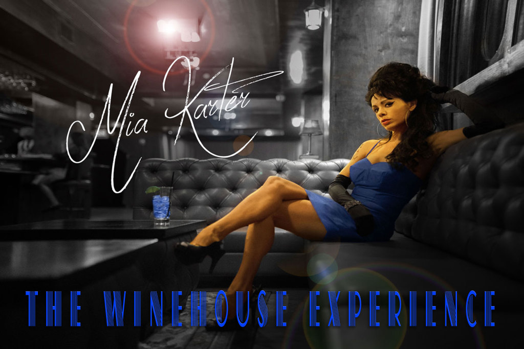 Mia Karter Blue Dress as Winehouse