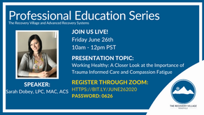 Upcoming Webinar - Working Healthy: A closer look at the importance of Trauma Informed Care