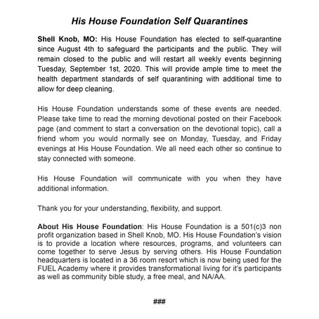 His House Foundation Self Quarantines