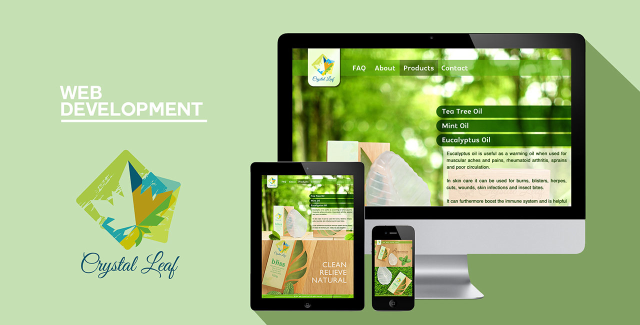 website mockup crystal leaf