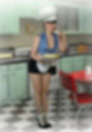 ragazza pin up con cappello da cuoco e torta in mano con camicetta sbottonata blu e minigonna nera