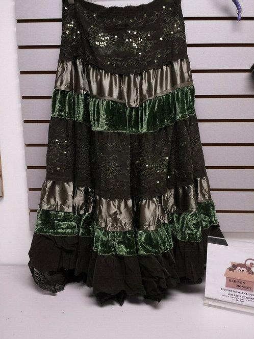 Green Layered BoHo Skirt