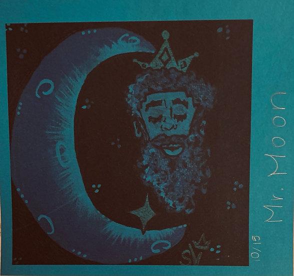 Mr. Moon Astronaut Blue (6''x6.5'') Cardstock Print
