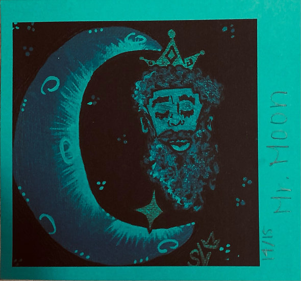 Mr. Moon Teal (6''x6.5'') Cardstock Print