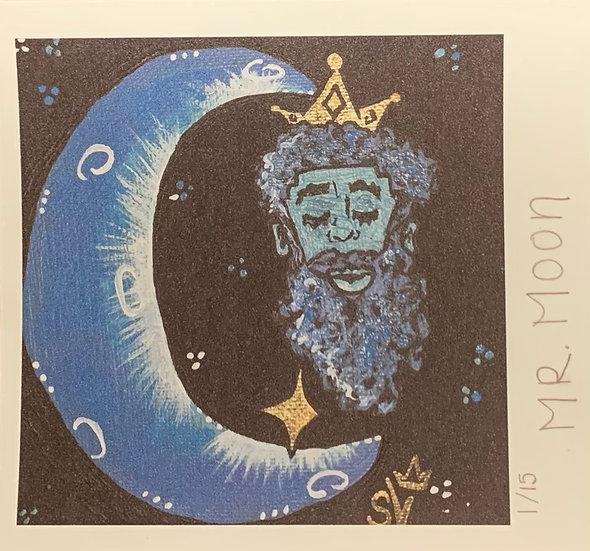 Mr. Moon Pastel Blue (6''x6.5'') Cardstock Print
