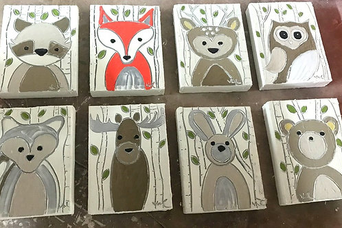 canvas set/8 animals