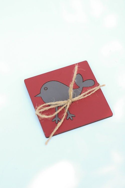 coaster set of 4 bird