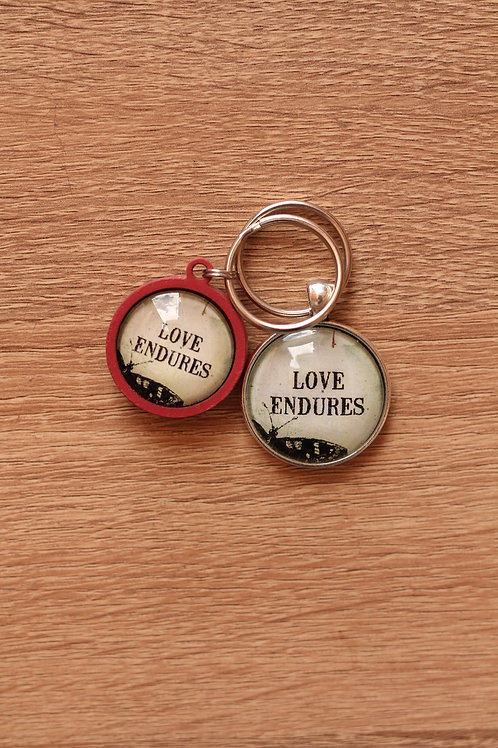 Key ring silver or Wood