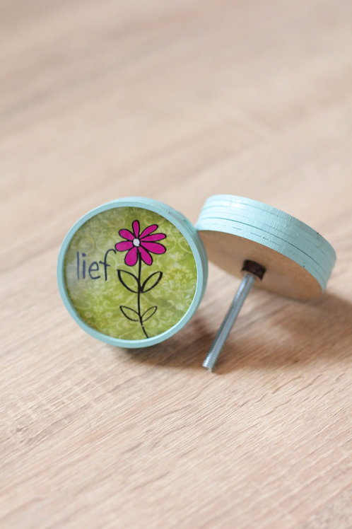 Doorknob lief with flower green printed