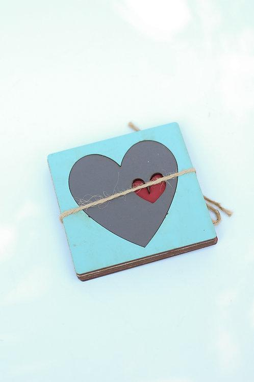 coaster set of 4 heart