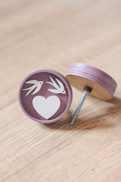 Doorknob wooden swallows and heart