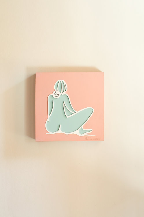 nude back side knee wall art