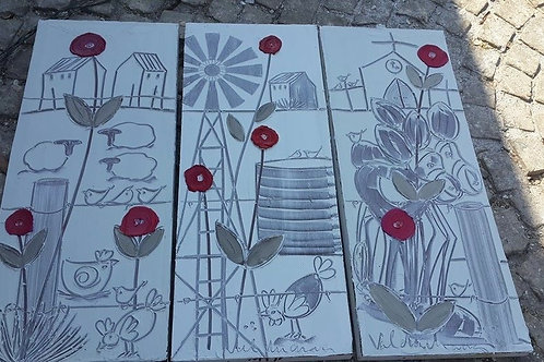 400x1000 canvas set of 3